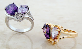 Purple Heart Amethyst CZ rings