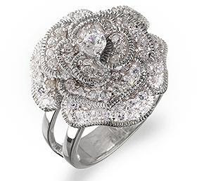 Sterling Silver Vintage Flower CZ Rings