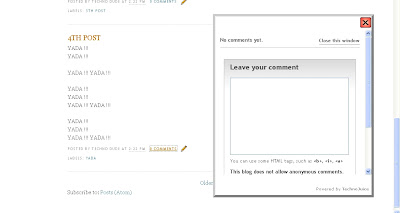 Comment box for blogger. Screenshot of the Comment box