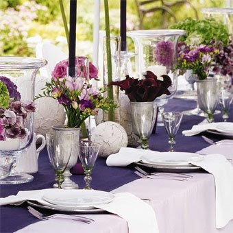Purple Wedding Decorations on Purple Wedding Table Set In The Garden  Flowers Continue The Theme