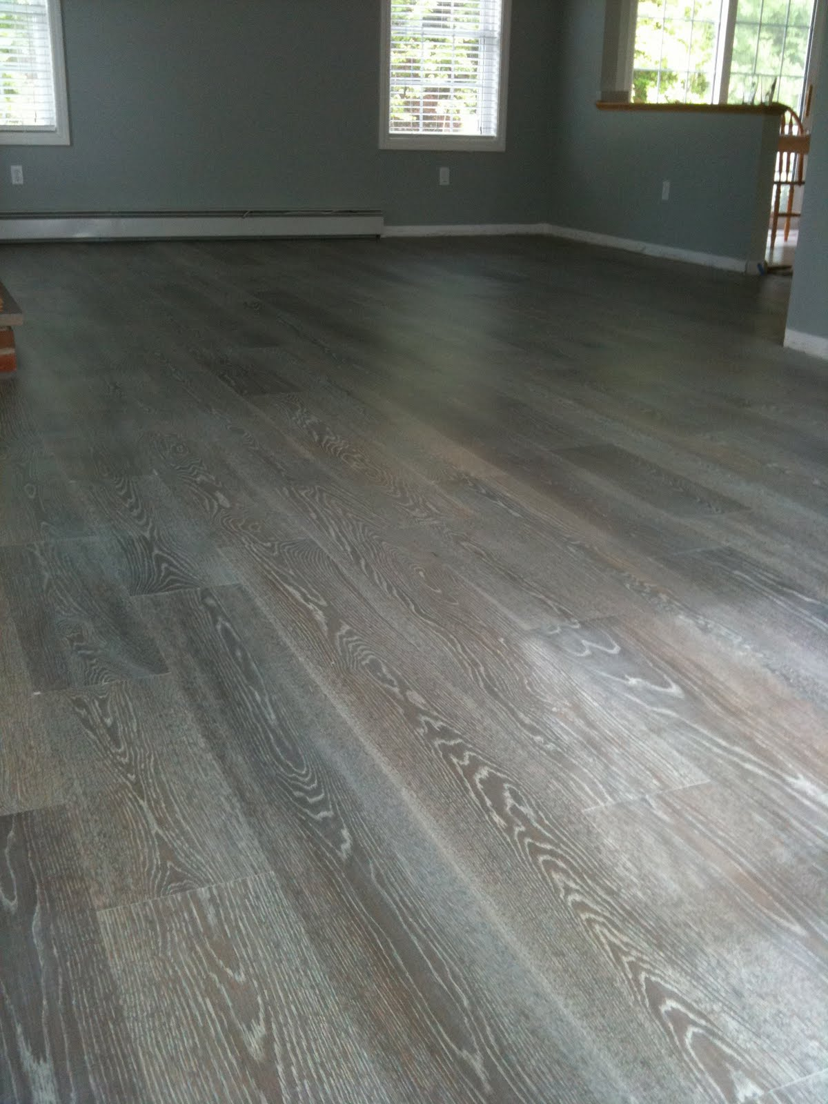 True wesson interior design project gray hardwood floors for Grey brown floor tiles