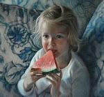 """""""Fillette et melon"""", pastel sur panneau, 20"""" x 22"""""""
