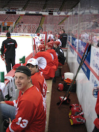 Earl &amp; Darby on the Red Wings Bench