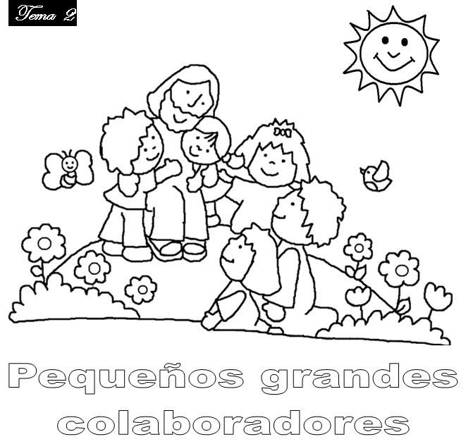 INFANCIA MISIONERA - Colorear y pintar: Jesús y los niños