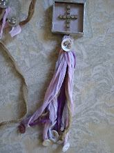 another one of my original designs...French hand dyed silk ribbon tossel necklace