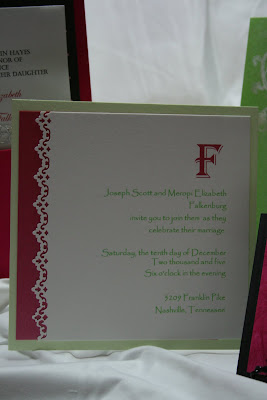 Lace Detail on Hot Pink and Green Invitation