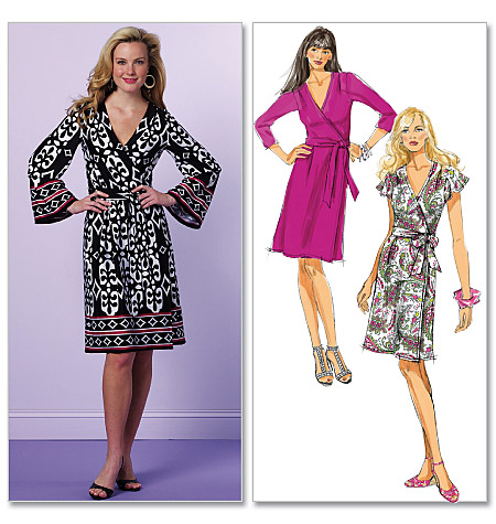 Knitting Pattern Wrap Dress : Amandas Adventures in Sewing: Butterick 5454 - Black floral knit wrap dress