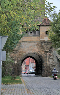 well-preserved stone gate in Rothenburg