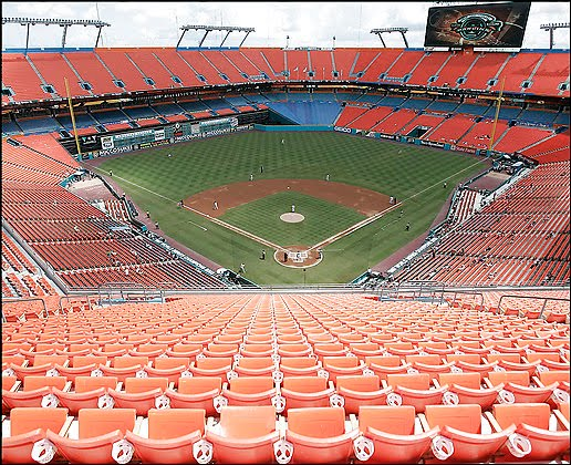 Above: A Nearly Empty Sun Life Stadium In Miami Gardens, FL During A Recent  Marlins Baseball Game. During Marlinsu0027 Home Games, The Miami Metropolitan  Area, ...