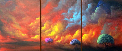 colorful trees and cloud paint of Matthew Hamblen