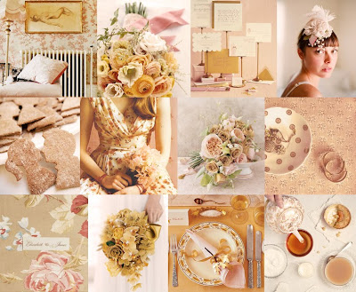 The inspirational board for a Fall Pink wedding