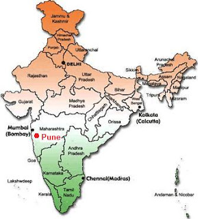 Life with hubby trip to pune part 1 map of india indicating the location of pune gumiabroncs Images
