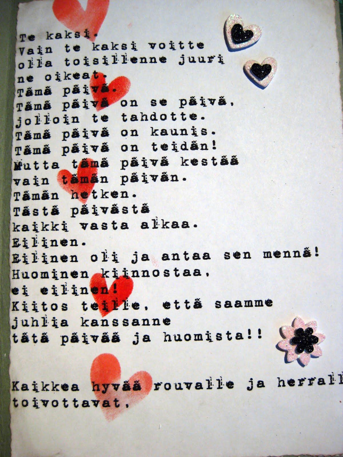 runo rakkaalle miehelleni Kitee