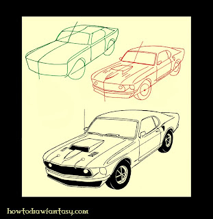 How to draw a muscle car mustang boss