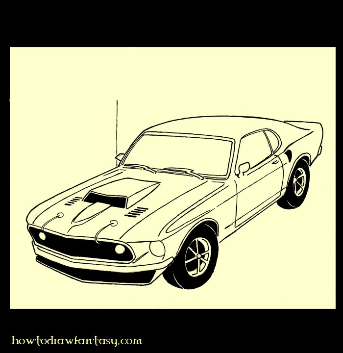 Cars Drawings Mustang Mustang Boss Muscle Car Art