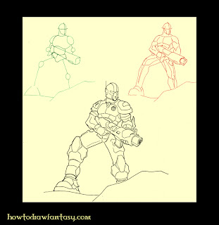 How to draw an heavy armored space marine