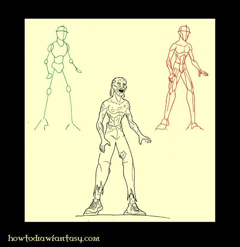 comment dessiner zombie