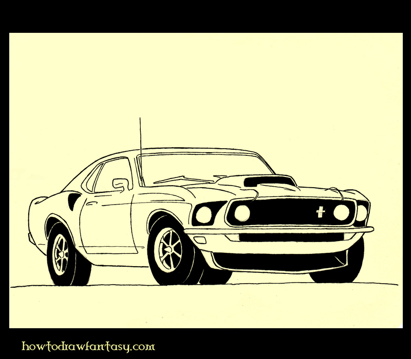 Muscle Cars Mustang Drawings How to Draw a Muscle Car