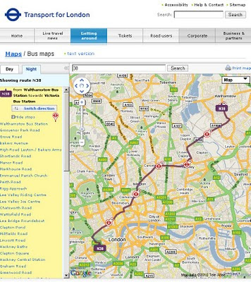 TfL Bus Routes Google Map Mashup Night Time