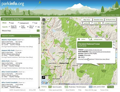 ParkInfo.org Map Parks