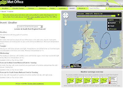 The Met Office Weather using Google Maps Isobars