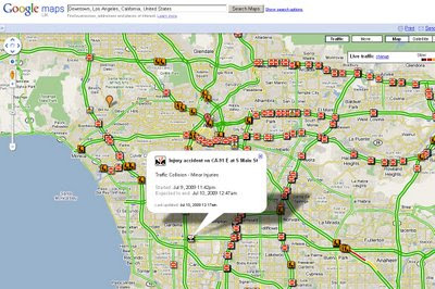 Google Maps Live Traffic Reports LA