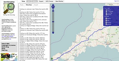OSM Directions of Route