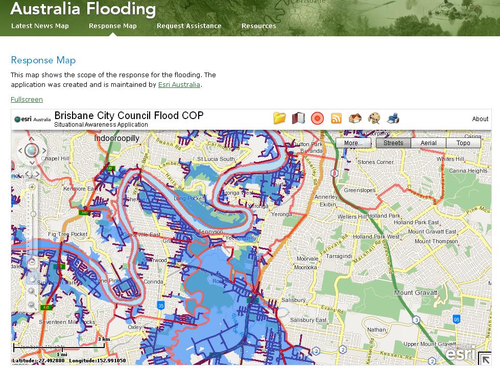 image map html email. Australia ESRI Flood Map