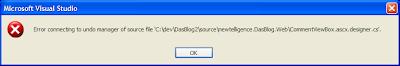 Erro Error al conectarse al administrador de deshacer del archivo de código fuente