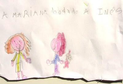 desenho de duas meninas e um dado