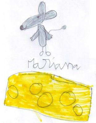 Desenho de um Rato e de uma fatia de queijo