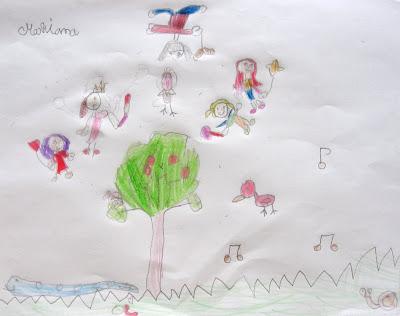desenho de uma árvore rodeada por fadinhas