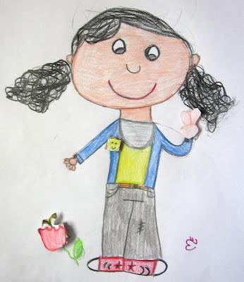 Desenho de uma menina com elementos 3D