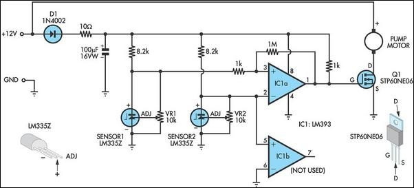 Pump controller for solar hot water system circuit schematic