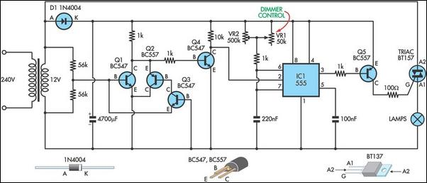 Model theatre lighting dimmer circuit schematic