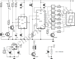 Light Gate With Counter Using 555 And 4013 Circuit Diagram