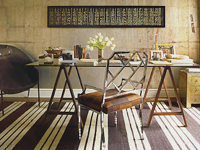 This Space By Nate Berkus Features A Beautiful Saw Horse Desk And Chrome  Chippendale Style Chair, As Well As A Great, Bold Rug.