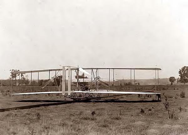 Wright Bros plane on launching track, Huffman Prairie, Dayton, Ohio 1904