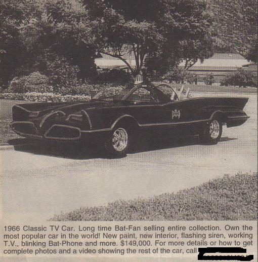 Add for Batmobile from the Old Car Trader magazine, December 1994, page 107
