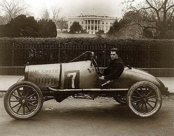 Race car outside of White House, 1922