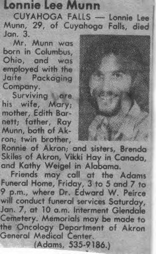 Lonnie's obit in the Akron Beacon Journal 1-5-1984