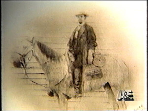 Jesse on horse. Undated photo. Used in an A&E documentary