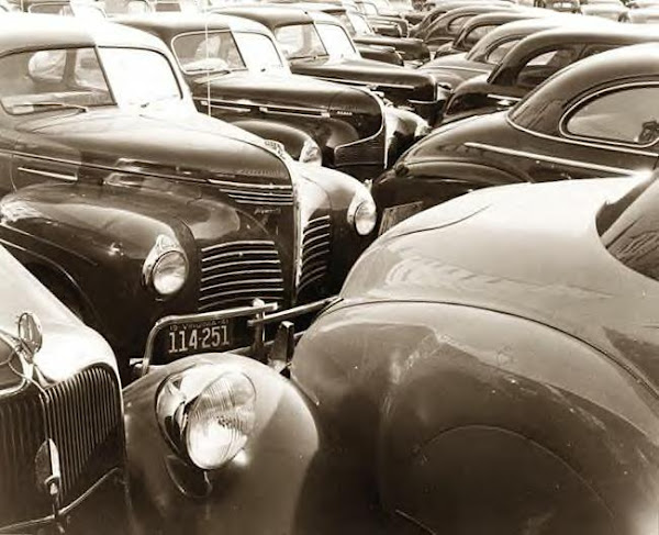 Cars in Lot. 1940s