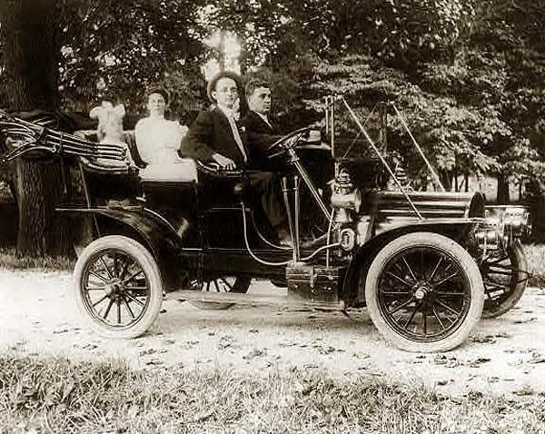 Herbert E. French driving car, 1910