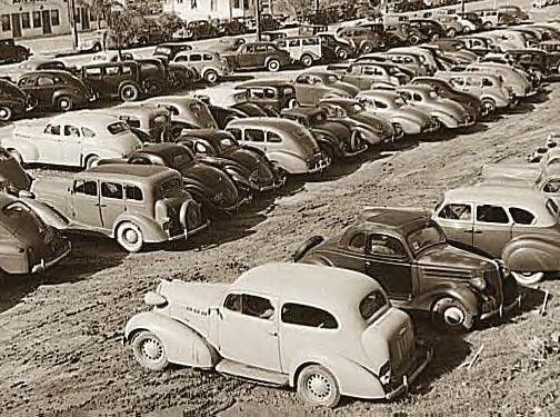 San Diago, Ca., 1940. Workers parking lot at Airplane Factory