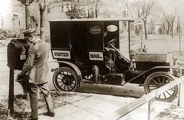 Mailman & truck, 1909