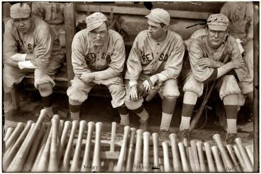 Babe Ruth, Bill Carrigan, Jack Barry and Vean Gregg, Boston Red Sox 1916