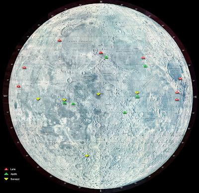 moon landing photos. landing sites on the Moon.