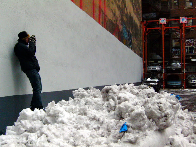 Chelsea After Snow Storm (the artist in action), New York NY, 2010