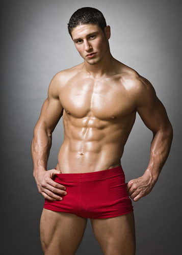 muscle boy in lycra shorts